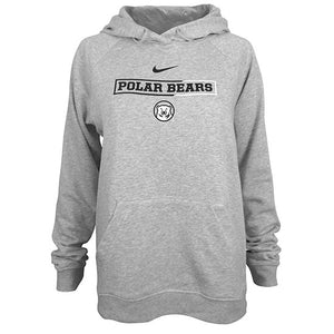 Heather gray hood with chest imprint of black Nike swoosh over Polar Bears in black inside a half-black, half-white box, over a Bowdoin polar bear mascot medallion.