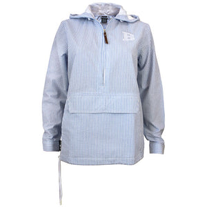 Blue and white seersucker hooded pullover with white B embroidered on left chest.
