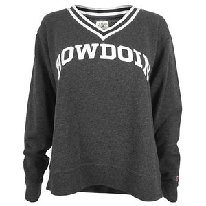 Charcoal grey crew sweatshirt with ribbed V-neck in black and white. White arched Bowdoin on chest.