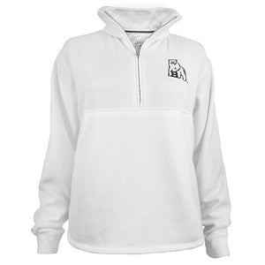White 1/4 zip pullover with embroidered polar bear mascot on left chest.