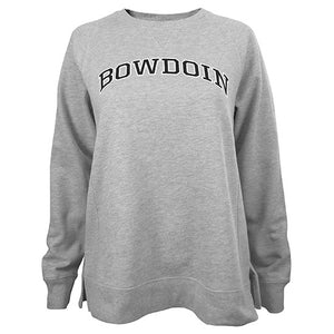 Women's relaxed fit crew sweatshirt with vented sides and arched BOWDOIN chest imprint in black with white outline.