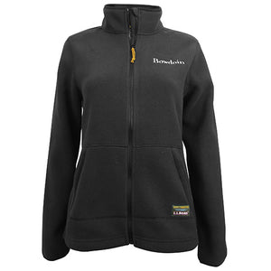 A women's black fleece full-zip jacket with a high collar and side pockets. There is a small BOWDOIN wordmark embroidered in white on the left chest, and an L.L.Bean patch sewn over the left pocket. The zipper pulls are made of L.L.Bean bootlaces.