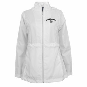Women's white jacket with collar and hood. Black arched BOWDOIN over B imprint on left chest.
