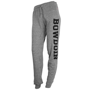 Women's relaxed lounge pants in heather gray with black BOWDOIN imprint down left leg.