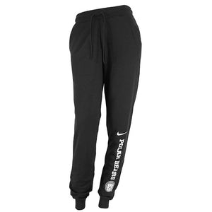 Black sweatpants with tapered legs and tight cuffs. On the lower left leg is a white Nike Swoosh over vertical POLAR BEARS over a Bowdoin polar bear medallion.