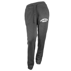 Women's charcoal grey sweatpants with white imprint on left thigh of BOWDOIN arched over 1794 inside a cartouche.
