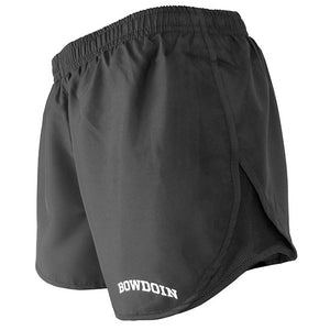 Side view of women's black running shorts showing black mesh side panel.