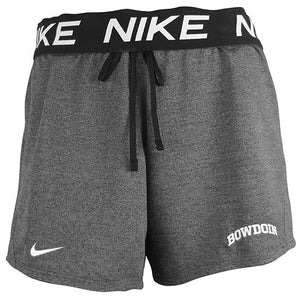 Heathered black shorts with fold-down black waistband with repeating NIKE in white. Black drawstring waist. White Nike Swoosh on right leg near hem, white arched BOWDOIN on left leg near hem.