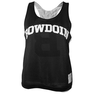Black side of reversible women's pinnie with arched white BOWDOIN on chest and League size patch above hem on left hip.