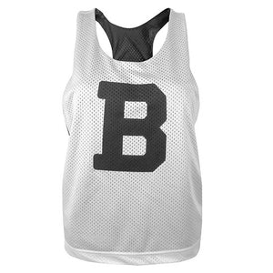 White side of reversible women's pinnie with large black B on chest.