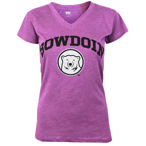 Women's dragonfruit purple heathered short-sleeved V-neck T-shirt with black arched BOWDOIN over a black and white mascot medallion.