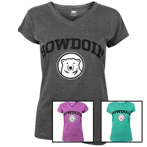 Montage of 3 different colors of Bowdoin V-neck T-shirt.
