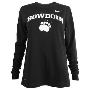 Women's relaxed fit black long-sleeved T-shirt with white imprint of BOWDOIN arched over a polar bear paw print. There is a small Nike Swoosh on the left shoulder of the shirt.