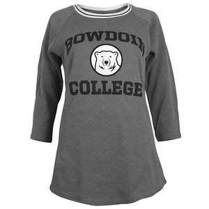 Women's relaxed graphite waffle-knit 3/4-sleeve top with contrast black and white neckline. Chest imprint of the word BOWDOIN arched over a polar bear mascot medallion over the word COLLEGE.