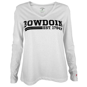 White v-neck long-sleeved shirt with black imprint of BOWDOIN over two stripes interrupted by EST. 1794.