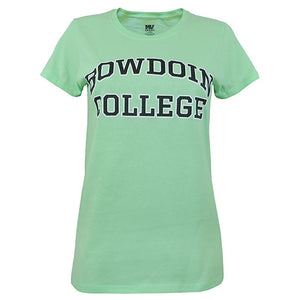 Women's fit mint green crewneck short-sleeved T-shirt with chest imprint of BOWDOIN arched over COLLEGE in black with white outline.