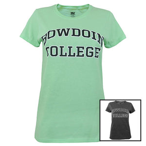 Two colors of women's BOWDOIN COLLEGE tees.