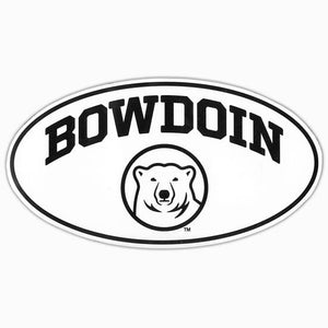 Euro-style decal in white with black border. The imprint is BOWDOIN arched over the polar bear medallion.