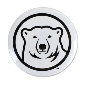 White round magnet with mascot medallion imprint.