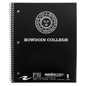 Black spiral bound notebook with white imprint of Bowdoin sun seal over BOWDOIN COLLEGE.