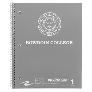 Grey spiral bound notebook with white imprint of Bowdoin sun seal over BOWDOIN COLLEGE.