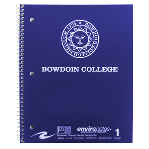 Navy spiral bound notebook with white imprint of Bowdoin sun seal over BOWDOIN COLLEGE.