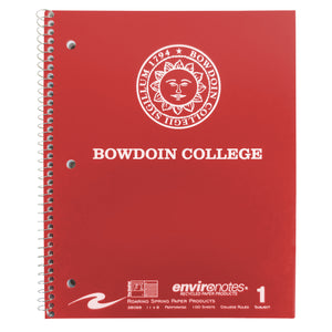 Red spiral bound notebook with white imprint of Bowdoin sun seal over BOWDOIN COLLEGE.