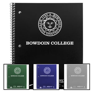 Different colors of spiral bound 100-sheet Bowdoin notebooks.