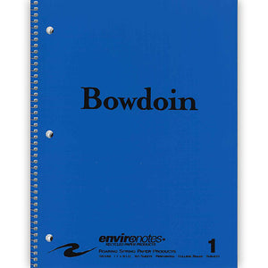 Blue notebook with black Bowdoin wordmark on cover.
