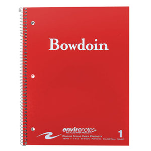 Red notebook with white Bowdoin wordmark on cover.