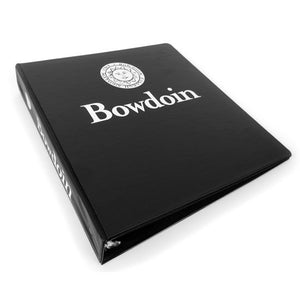 Black 3-ring binder with white imprint of Bowdoin seal over Bowdoin wordmark on front, and Bowdoin seal beside Bowdoin wordmark on spine.