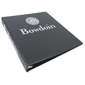 Charcoal grey 3-ring binder with white imprint of Bowdoin seal over Bowdoin wordmark on front, and Bowdoin seal beside Bowdoin wordmark on spine.