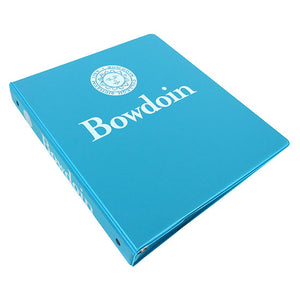 Tropical blue 3-ring binder with white imprint of Bowdoin seal over Bowdoin wordmark on front, and Bowdoin seal beside Bowdoin wordmark on spine.