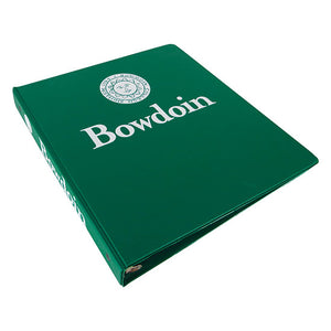 Deep green 3-ring binder with white imprint of Bowdoin seal over Bowdoin wordmark on front, and Bowdoin seal beside Bowdoin wordmark on spine.
