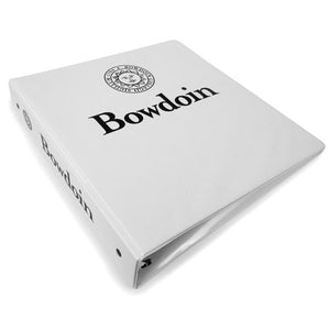 White 3-ring binder with black imprint of Bowdoin seal over Bowdoin wordmark on front, and Bowdoin seal beside Bowdoin wordmark on spine.