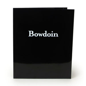 Black laminated folder with white Bowdoin imprint.