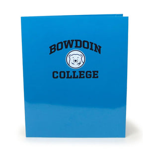 Blue laminated folder with imprint of black arched BOWDOIN over white and black mascot medallion over black COLLEGE.