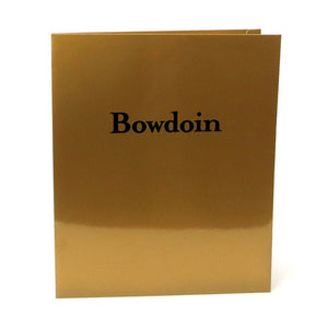 Gold laminated folder with black Bowdoin imprint.