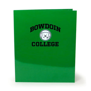 Green laminated folder with imprint of black arched BOWDOIN over white and black mascot medallion over black COLLEGE.