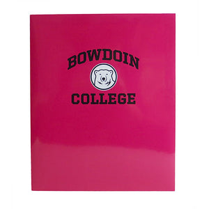Hot pink laminated folder with Bowdoin arched over polar bear medallion over College.