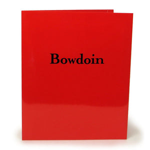 Red laminated folder with black Bowdoin imprint.
