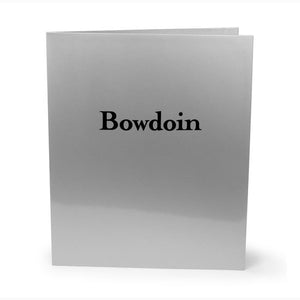 Silver laminated folder with black Bowdoin imprint.