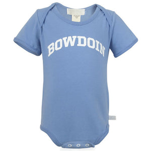 The front of a blue diaper shirt with the word BOWDOIN imprinted in an arch on the chest in white.