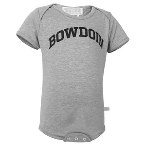 The front of a heather gray diaper shirt with the word BOWDOIN imprinted in an arch on the chest in black..