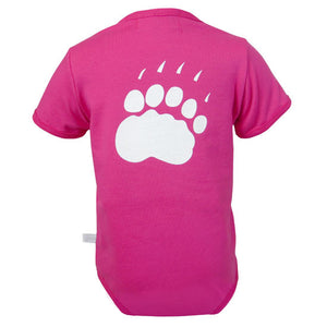 The back of a pink diaper shirt showing a large polar bear paw print in white.