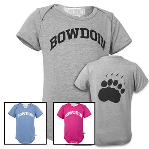 Photo showing 3 Bowdoin baby diaper shirts in gray, blue, and pink. There is also a shot of the back of the gray shirt showing a paw print.