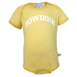 The front of a yellow diaper shirt with the word BOWDOIN imprinted in an arch on the chest in white.