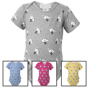 Montage of four Bowdoin diaper shirts with all-over mascot print.