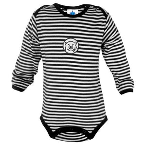 Long-sleeved bodysuit with narrow black and white stripes and black trim. Black and white embroidered mascot medallion patch on chest.