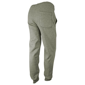 Rear view of gray sweatpants showing pocket on right hip.